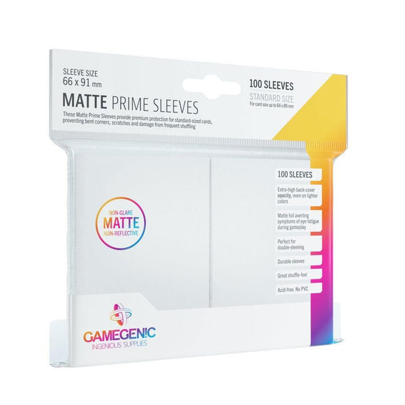 White 100ct Matte Prime Sleeves GG Standard Size
