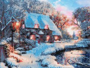 Craft Buddy Crystal Art Kit Winter Cottage 40 x 50cm Pre-Framed 5D Art Kit