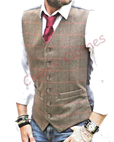 MENS WOOL BLEND TWEED BROWN DONEGAL FLECK  WAISTCOAT VEST GILET S M L XL XXL
