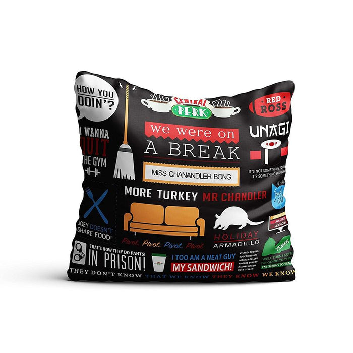 FRIENDS TV SERIES INFOGRAPHIC SATIN CUSHION COVER