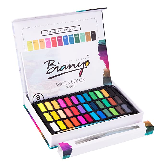 Bianyo Artist Watercolor Cakes Set Art Painting Kit with Watercolor Paper, 36 Colors