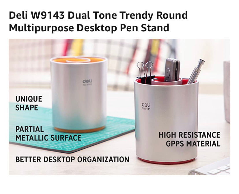 Deli W9143 Dual Tone Trendy Round Multipurpose Red Desktop Pen Stand