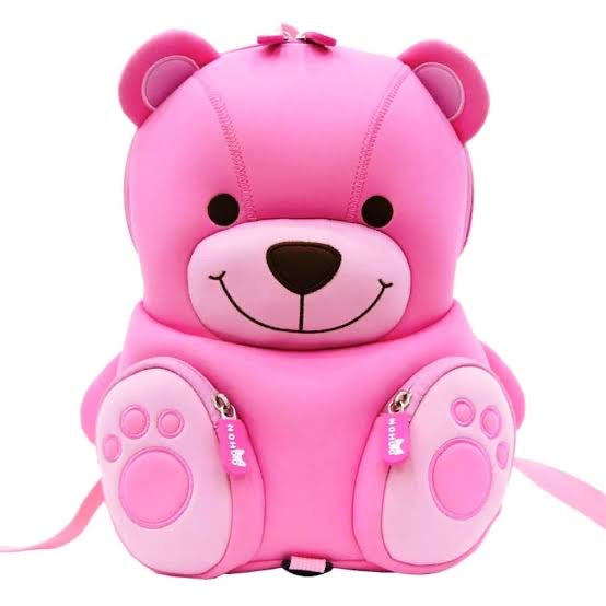 Nohoo 3D Cute Pink Teddy Bear Backpack