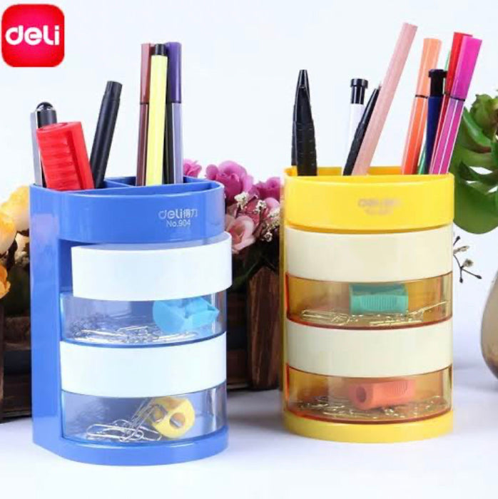 Deli 904 Compartments Plastic Pen Holder- Yellow