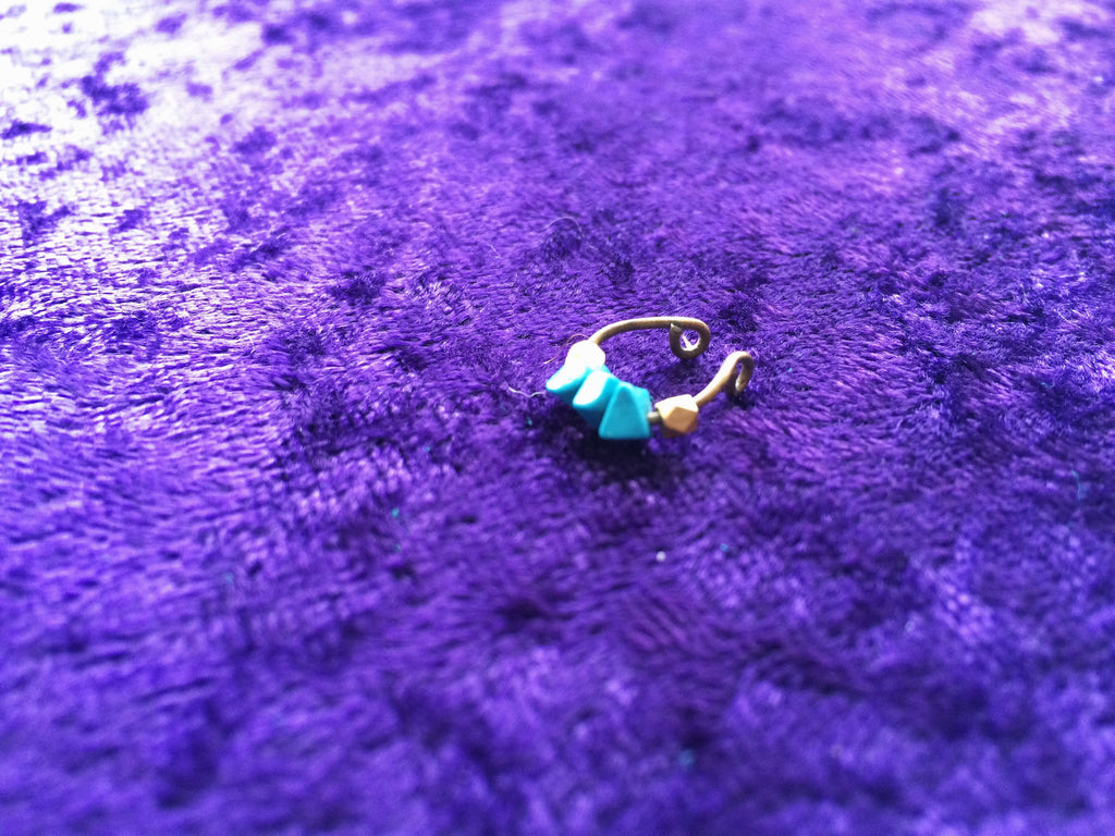 Turquoise & African Bead Faux Septum Ring