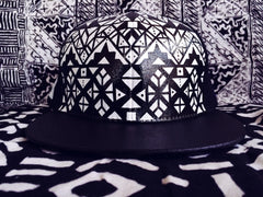 MONOCHROME TRIBE // CUSTOM PAINTED HAT // size 7 1/4