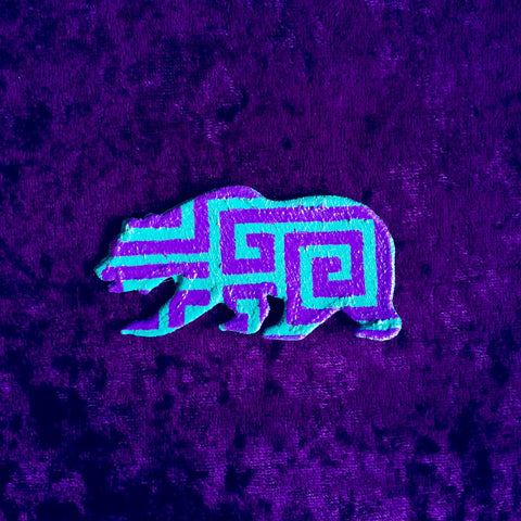 PURP & TEAL MAZE // PAINTED GRC VELCRO BEAR