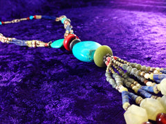 Indian Beaded Tassle Drop Necklace