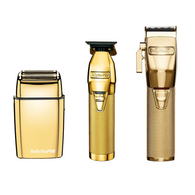 BaByliss PRO - GoldFX Trio - B787GA FX Lithium Hair Outliner Trimmer/FX870G Lithium Clipper/FX02 Metal Double Foil Shaver