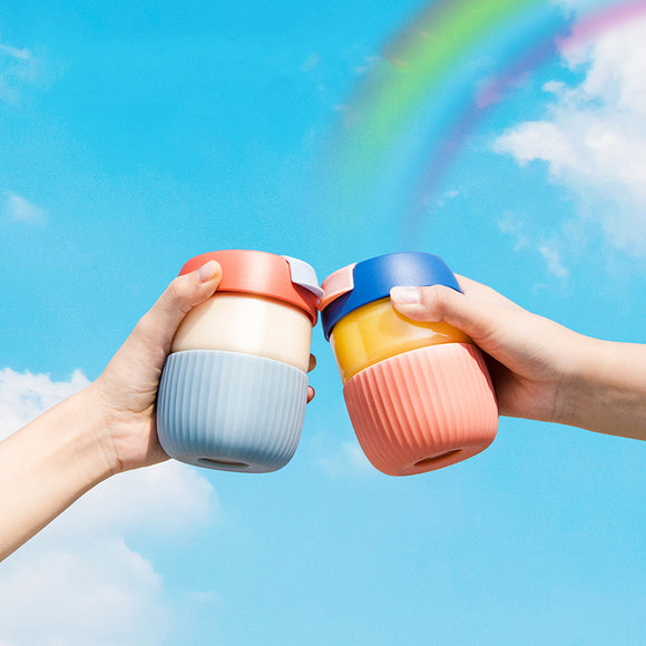 XIAOMI - KKF Mini Rainbow Cup Portable Juice Glass Cup Student Cute Glass Simple Style 360Ml Mug With Cover Water Bottle