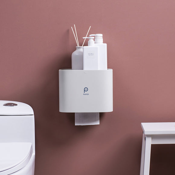 XIAOMI Bathroom Wall Mounted Plastic Tissue Dispenser with Storage Tray Water Proof Toilet Paper Box