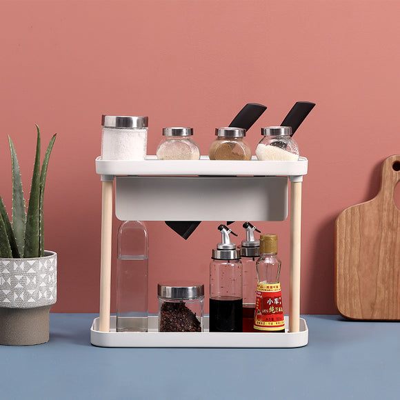 XIAOMI Kitchen Assemble Desktop Seasoning Rack Kitchen Utensil Storage Rack Double Layer