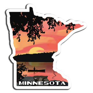 Minnesota Sunset Paddle Sticker