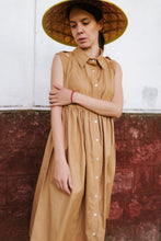 Load image into Gallery viewer, Beige Cotton Shirt Dress Avina