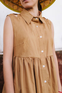 Beige Cotton Shirt Dress Avina