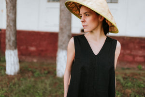 Linen Black Dress Elora