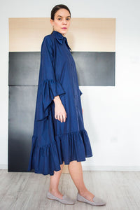 Bohemian Chic Style Loose Shirt Dress Carlie Blue