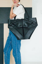 Load image into Gallery viewer, Large Black Leather Shoulder Bag Origami