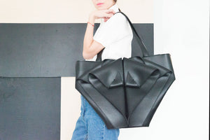 Large Black Leather Shoulder Bag Origami