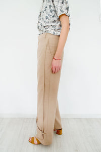 Geometric Straight Pants Olwyn Beige
