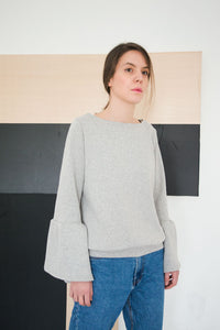 Loose Soft Grey Boho Chic Sweater Kindi