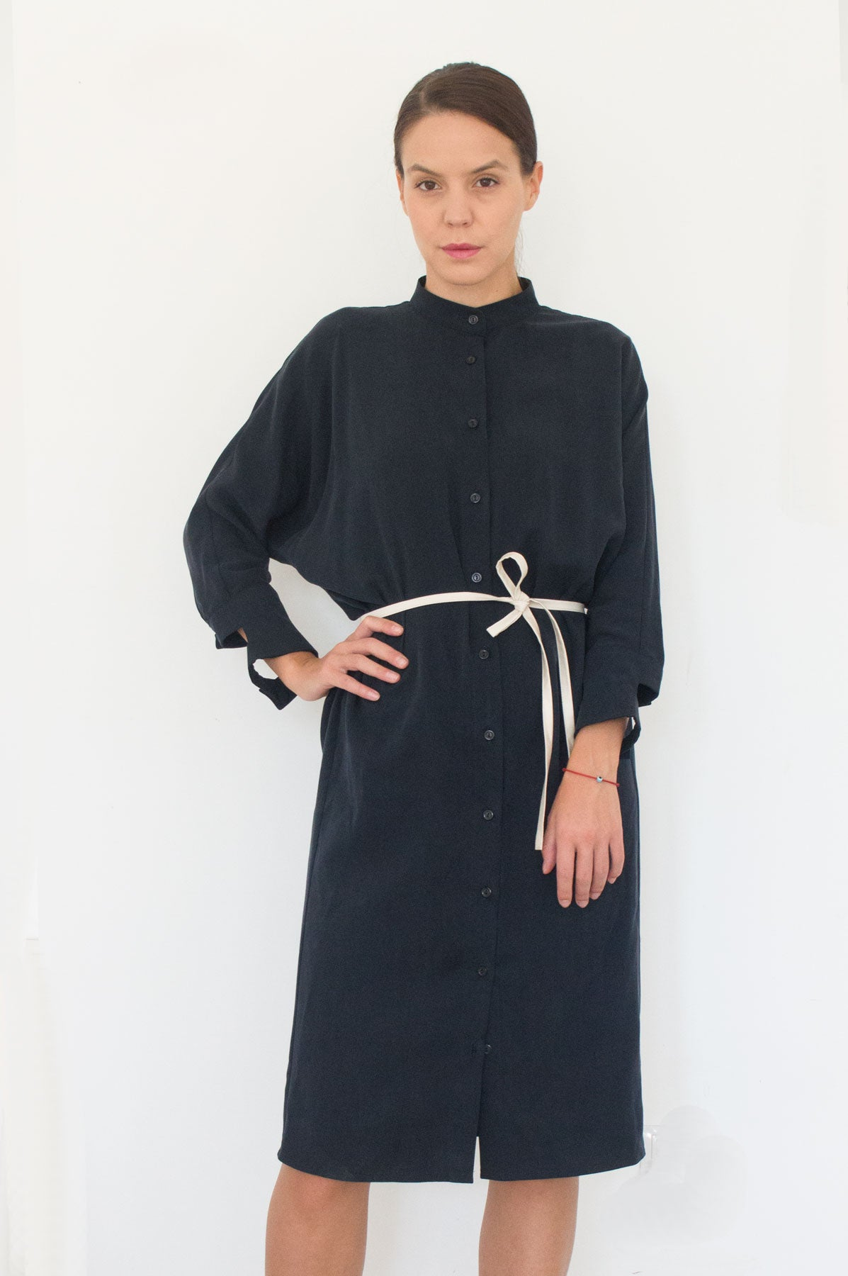 Black Midi Shirt Dress Adamina