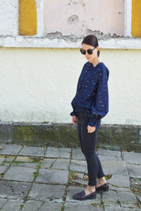 Navy cotton shirt with print