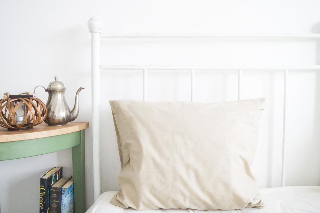 Set of 2 Beige Pillow Cases
