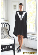 Load image into Gallery viewer, Black and White Shirt Dress Mellani
