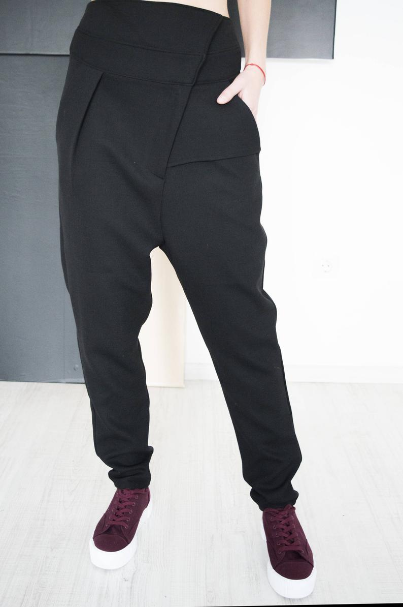 Black Wool Harem Pants Isa