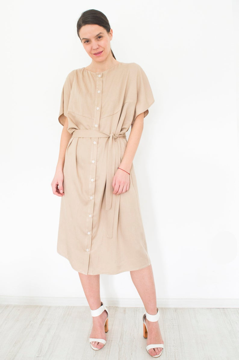 Beige Minimalist Shirt Dress Anina