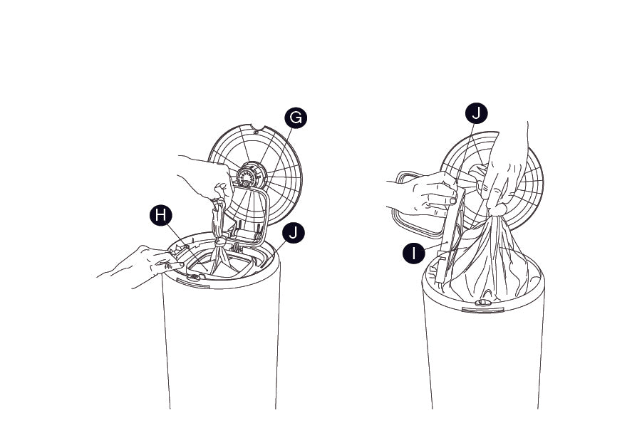 Removing a PurePail Bag. Step 5: Unsnap pinch ring (G) to release bag. Pull up bag, tie knot, then push knot  below membrane flaps (H). This will keep the smell locked inside. Lift membrane door (I) using finger flap (J)  on right side. Remove bag.