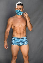 Load image into Gallery viewer, Reversible Camo Blue MASK with hidden pocket inside