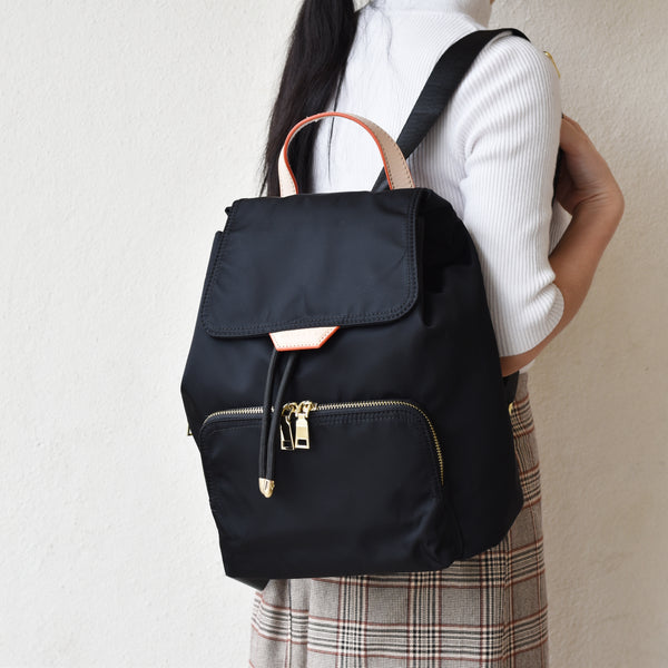 MOMO NYLON BACKPACK - BLACK