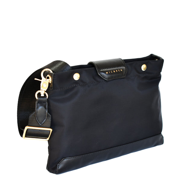 AMIE NYLON CROSSBODY BAG - BLACK