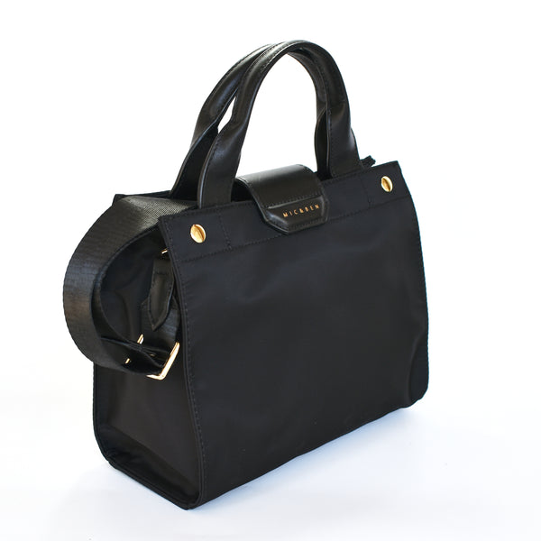 AMIE NYLON TOTE BAG - BLACK