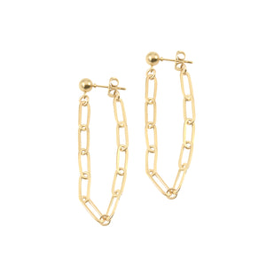 14k gold ball stud earrings with chunky longer chain looped from front to back