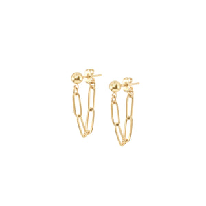 14k gold ball stud earrings with chunky short chain looped from front to back
