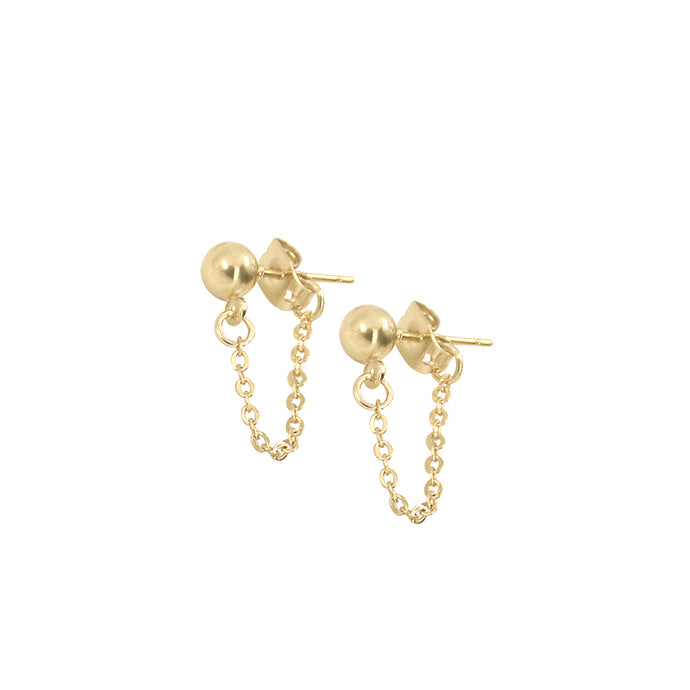 14k gold ball stud earrings with dainty short chain looped from front to back