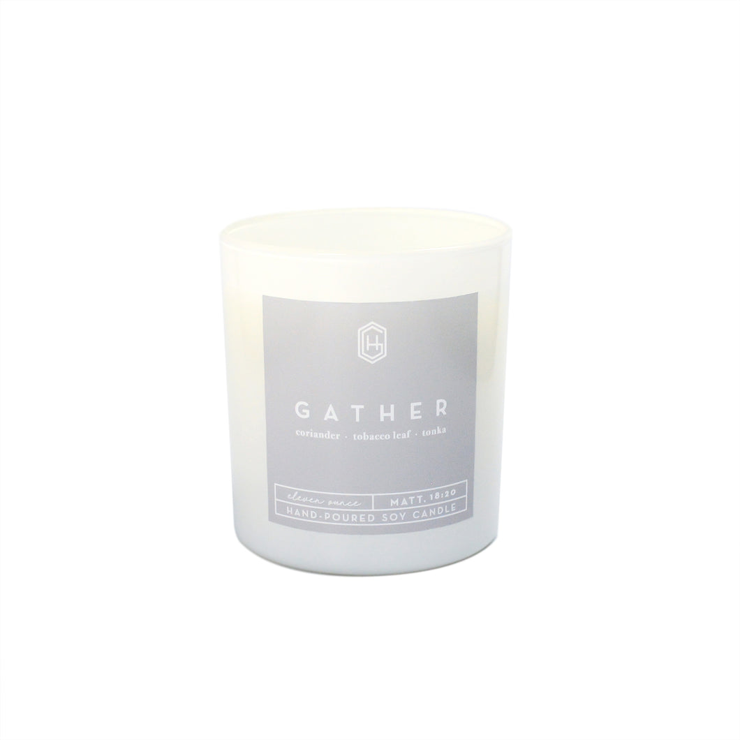 Hand-poured, soy candle, 11 ounce, Gather