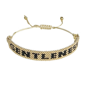 Gentleness Gold and Black beaded adjustable bracelet.