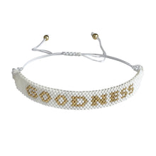 Load image into Gallery viewer, Goodness Gold and White beaded adjustable bracelet.