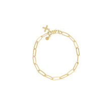 Load image into Gallery viewer, 14k gold chain bracelet with cross charm perfect for stacking with other bracelets
