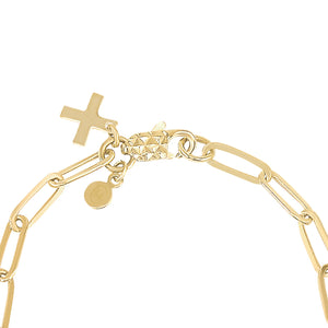 14k gold chain bracelet with cross charm, Christian jewelry
