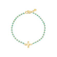 Load image into Gallery viewer, Dainty gold-plated bracelet with turquoise enamel and cross