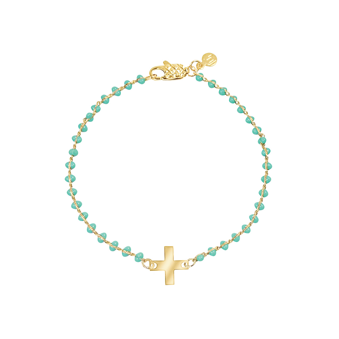 Dainty gold-plated bracelet with turquoise enamel and cross