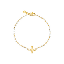 Load image into Gallery viewer, Dainty gold-plated bracelet with white enamel and cross