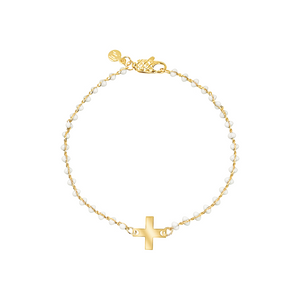 Dainty gold-plated bracelet with white enamel and cross