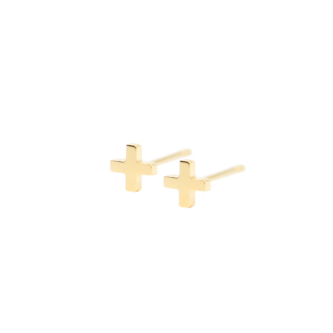 14k gold cross earring studs