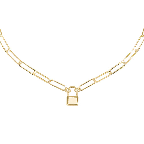 14k gold chunky chain necklace with lock charm
